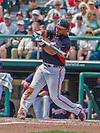 19 March 2015: Atlanta Braves infielder Alberto Callaspo in Spring Training action against the Miami Marlins at Champion Stadium in the ESPN Wide World of Sports Complex in Kissimmee, Florida. The Braves defeated the Marlins 6-3 in Grapefruit League play. Mandatory Credit: Ed Wolfstein Photo *** RAW (NEF) Image File Available ***