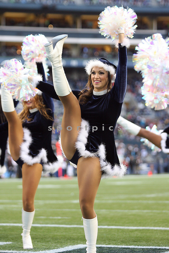 December 19, 2010:  Seattle Seahawks Sea gals entertained the crowed during timeouts against Atlanta.  Atlanta defeated Seattle 34-18 at Quest Field in Seattle, WA.