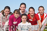 Sun: Gearing up for the race at Rock Street-Caherslee Community Games in Mounthawk Pitch, Tralee, on Friday evening were, front: Courtney Ryan. Back l-r: Katie Liston, Hannah Ryan, Louise OConnor, Hazel Carmody and Laura Lynch (all from Mounthawk)..