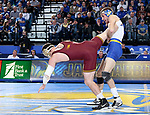 BROOKINGS, SD - NOVEMBER 17: Luke Zilverberg from South Dakota State lifts the leg of Jake Short from the University of Minnesota during their 157 pound match Friday evening at First Arena in Brookings, SD.  (Photo by Dave Eggen/Inertia)