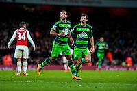 Wayne Routledge of Swansea City  Celebrates his goal during the Barclays Premier League match between Arsenal and Swansea City at the Emirates Stadium, London, UK, Wednesday 02 March 2016