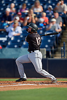Jupiter Hammerheads Harrison Dinicola (12) bats during a Florida State League game against the Tampa Tarpons on July 26, 2019 at George M. Steinbrenner Field in Tampa, Florida.  Tampa defeated Jupiter 2-0 in the first game of a doubleheader.  (Mike Janes/Four Seam Images)