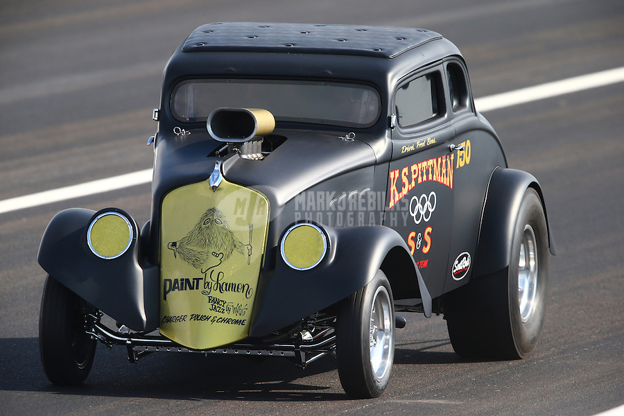 Aug. 30, 2013; Clermont, IN, USA: NHRA AA/GS driver Fred Bear during qualifying for the US Nationals at Lucas Oil Raceway. Mandatory Credit: Mark J. Rebilas-