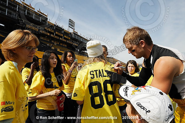 September 11, 2010; Hamilton, ON, CAN; Hamilton Tiger-Cats wide receiver Dave Stala (88) signs autographs. CFL football: Montreal Alouettes vs. Hamilton Tiger-Cats at Ivor Wynne Stadium. The Alouettes defeated the Tiger-Cats 27-6. Mandatory Credit: Ron Scheffler. Copyright (c) 2010 Ron Scheffler.