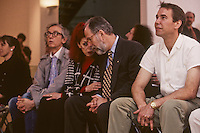 Christo, Jeanne-Claude, John Kaldor and Jeff Koons at the Museum of Contemporary Art in Sydney, Australia in 1995. John Kaldor is the founder of Kaldor Public Art Projects which is an Australian arts organisation established in 1969. The organisation's first project, in 1969 was Christo and Jeanne-Claude's Wrapped Coast, which at the time was the largest single artwork ever made.