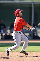 Los Angels Angels of Anaheim outfielder Mike Fish (13) during an instructional league game against the Colorado Rockies on September 30, 2013 at Tempe Diablo Stadium Complex in Tempe, Arizona.  (Mike Janes/Four Seam Images)