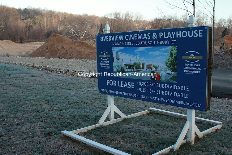 SOUTHBURY, CT: 25 Nov. 2015: 25112015CB02: SOUTHBURY -- A developer constructing a movie theater in Southbury at 690 Main St. South says work on the building foundation should begin soon,  following delays to the project caused by a parking lot redesign. Caleb Bedillion Republican-American