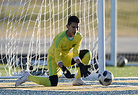 NWA Democrat-Gazette/CHARLIE KAIJO Springdale High School goalkeeper Abram Cordero (10) blocks during a soccer game, Friday, March 15, 2019 at Bentonville West in Centerton.