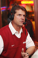 9 January 2007: Stanford football head coach Jim Harbaugh is interviewed for the Inside Stanford Sports Radio Show at Old Pro's on Ramona Street in Palo Alto, CA.