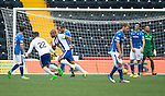 Kilmarnock v St Johnstone...19.09.15  SPFL Rugby Park, Kilmarnock<br /> Josh McGennis celebrates his goal as the saints players show their disgust<br /> Picture by Graeme Hart.<br /> Copyright Perthshire Picture Agency<br /> Tel: 01738 623350  Mobile: 07990 594431