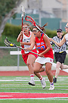 Redondo Beach, CA 05/14/11 -  Keaton Otake (Los Alamitos #27) and unidentified Redondo Union playerin action during the 2011 US Lacrosse / CIF Southern Section Division 1 Girls Varsity Lacrosse Championship, Los Alamitos defeated Redondo Union 17-5.