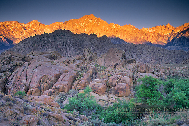 Sunrise light on Mount Whitney and Lone Pine Peak above the Alabama Hills, near Lone Pine, Eastern Sierra, California
