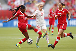 (L-R) Kadeisha Buchanan (CAN), Lala Dickenmann (SUI), JUNE 21, 2015 - Football / Soccer : <br /> FIFA Women's World Cup Canada 2015 Round of 16 match between Canada 1-0 Switzerland at BC Place Stadium, <br /> Vancouver, Canada. (Photo by Yusuke Nakansihi/AFLO SPORT)