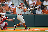 Texas Longhorns second baseman Brooks Marlow (8) swings the bat during the NCAA baseball game against the Houston Cougars on June 6, 2014 at UFCU Disch–Falk Field in Austin, Texas. The Longhorns defeated the Cougars 4-2 in Game 1 of the NCAA Super Regional. (Andrew Woolley/Four Seam Images)