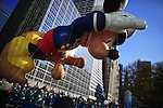 USA, NEW YORK, November 24, 2011.A Mickey mouse balloon floats in 6 avenue while American celebrated the Macy's Thanksgiving day parade in New York, November 24,2011. VIEWpress / Eduardo Munoz Alvarez..The Macy's parade is considered by many to be the official start of the holiday season. Balloons, bands and dignitaries trooped through midtown Manhattan Thursday morning for the 85th annual Macy's Thanksgiving Day Parade. Media Reported.