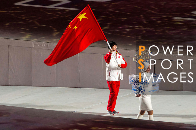 Olympic team of China during the parade of nations at the Opening ceremony of the 2014 Sochi Olympic Winter Games at Fisht Olympic Stadium on February 7, 2014 in Sochi, Russia. Photo by Victor Fraile / Power Sport Images