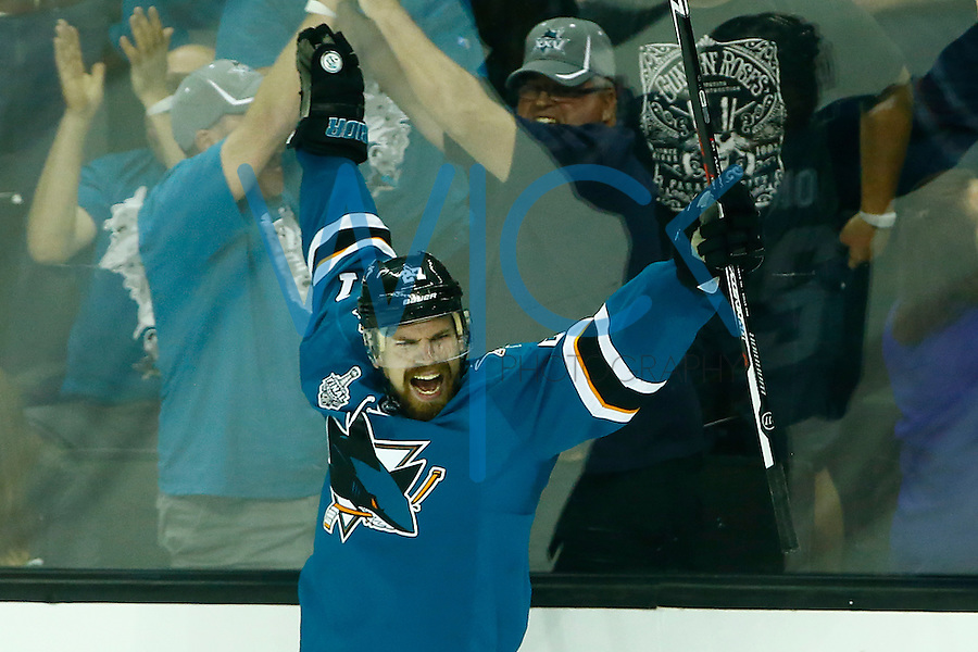 Joonas Donskoi #27 of the San Jose Sharks celebrates his game-winning goal in overtime against the Pittsburgh Penguins during game three of the Stanley Cup Final at the SAP Center in San Jose, California on June 4, 2016. (Photo by Jared Wickerham / DKPS)