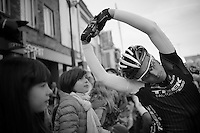 Matthew Busche (USA/Trek Factory Racing) stretching at the start<br /> <br /> La Flèche Wallonne 2014