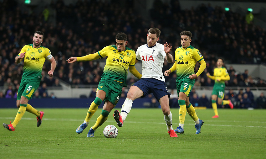 Tottenham Hotspur's Jan Vertonghen and Norwich City's Ben Godfrey<br /> <br /> Photographer Rob Newell/CameraSport<br /> <br /> The Emirates FA Cup Fifth Round - Tottenham Hotspur v Norwich City - Wednesday 4th March 2020 - Tottenham Hotspur Stadium - London<br />  <br /> World Copyright © 2020 CameraSport. All rights reserved. 43 Linden Ave. Countesthorpe. Leicester. England. LE8 5PG - Tel: +44 (0) 116 277 4147 - admin@camerasport.com - www.camerasport.com