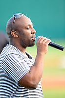 Brevard County Manatees guest Paul Cannon sings the national anthem before a game against the Daytona Cubs at Spacecoast Stadium on April 5, 2013 in Viera, Florida.  Daytona defeated Brevard County 8-0.  (Mike Janes/Four Seam Images)