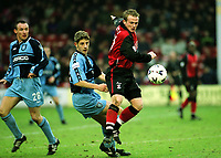 Dean Keates of Walsall in action as Wycombe's Michael Simpson and Ben Townsend look on during Walsall vs Wycombe Wanderers, Nationwide League Division Two Football at Bescot Stadium on 24th March 2001