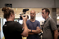 Tom Boonen visiting the Team Mitchelton-Scott press conference 1 day ahead of the 106th Tour de France 2019 (2.UWT) 'Grand Départ' in Brussels and interviewed here together with MTS DS Matthew Hayman<br /> <br /> ©kramon