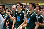 GER - Luebeck, Germany, February 07: Players of HTC Uhlenhorst Muehlheim celebrate before the prize giving ceremony at the Final 4 on February 7, 2016 at Hansehalle Luebeck in Luebeck, Germany. (Photo by Dirk Markgraf / www.265-images.com) *** Local caption ***