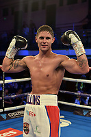 Aaron Collins (white shorts) defeats Dylon Draper during a Boxing Show at York Hall on 13th October 2018