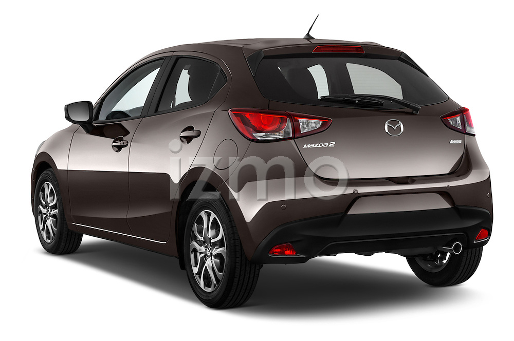 Car pictures of rear three quarter view of a 2015 Mazda Mazda2 Pulse Edition 5 Door Hatchback 2WD Angular Rear