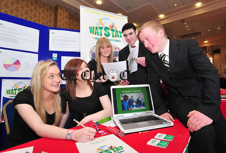 Laura Collopy, Aoife Bannon, Stacey Corry, Brian Casey and Sean Donnellan from St Caimin's in Shannon at the county finals of the Student Enterprise Awards. Photograph by Declan Monaghan