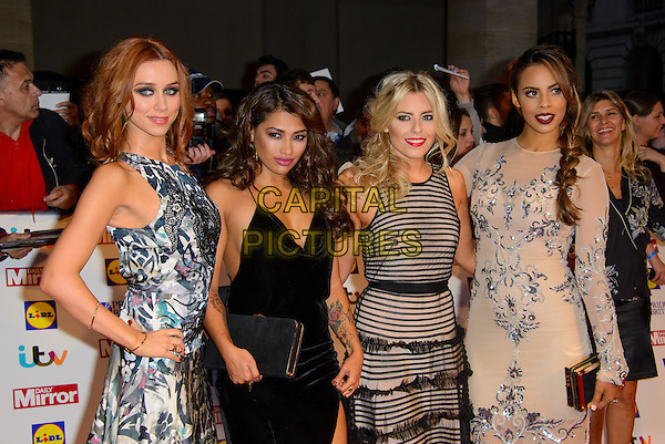 The Saturdays - Una Healy, Vanessa White, Mollie King and Rochelle Wiseman<br /> The Daily Mirror's Pride of Britain Awards arrivals at the Grosvenor House Hotel, London, England.<br /> 7th October 2013<br /> half length black grey gray beige pattern stripe print dress band group<br /> CAP/CJ<br /> &copy;Chris Joseph/Capital Pictures