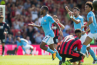 Raheem Sterling of Manchester City celebrates scoring an injury time winning goal during the Premier League match between Bournemouth and Manchester City at the Goldsands Stadium, Bournemouth, England on 26 August 2017. Photo by Andy Rowland.