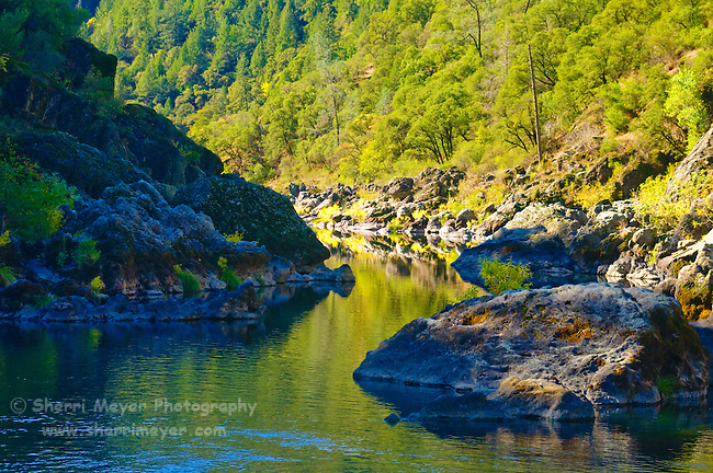 Morning reflections on the American River, Auburn, California.