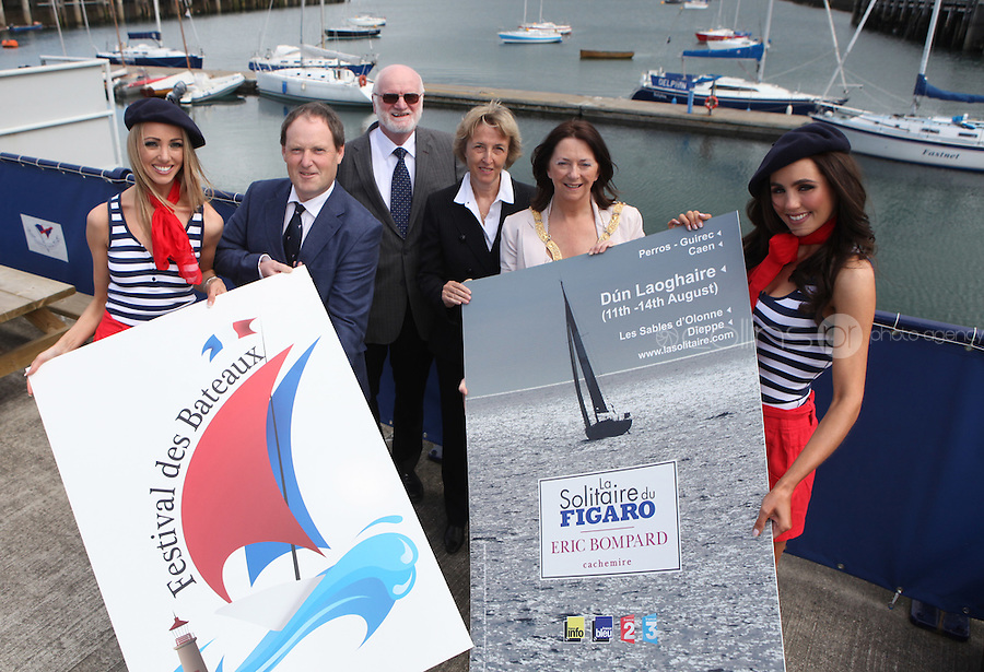 ****NO FEE PIC****.(L to R) French Mademoiselles Suzanne McCabe.Peter Ryan National Yacht Club.Harbourmaster Simon Coate.Her Excellency Emmanuelle D'Achon French Ambassador to Ireland.An Cathaoirleach of DLR, Cllr. Lettie McCarthy.French Mademoiselle Sinead Noonan.at the National Yacht Club Dun Laoghaire to launch Festival Des Bateaux which takes place between August 11th and 14th 2011 .Dun Laoghaire will be the only international stop on the world famous French Solitaire du Figaro yacht race.  To celebrate the stopover of this iconic 3,390 km race, Dun Laoghaire Rathdown County Council, the Dun Laoghaire Harbour Company and the National Yacht Club have joined forces to create Festival des Bateaux.  The harbour will be a magnificent tapestry of colour as the boats arrive for this international event.  Dun Laoghaire will be resplendent with fireworks, music and the sights, sounds, foods, and 'joie de vivre' of France..Photo: Gareth Chaney Collins