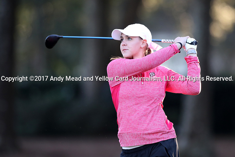 WILMINGTON, NC - OCTOBER 27: NC State's Cecily Overbey on the 10th tee. The first round of the Landfall Tradition Women's Golf Tournament was held on October 27, 2017 at the Pete Dye Course at the Country Club of Landfall in Wilmington, NC.