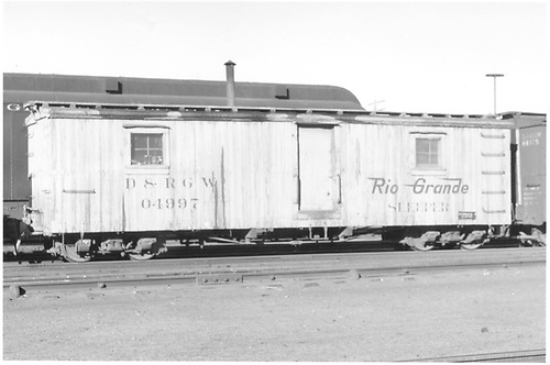 Outfit sleeper #04997 at Alamosa.<br /> D&amp;RGW  Alamosa, CO  Taken by Richardson, Robert W.
