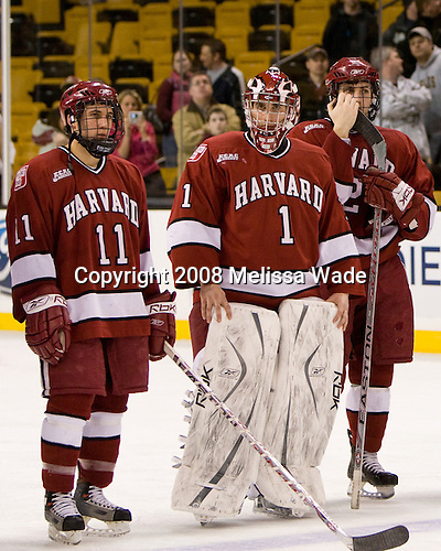 Jon Pelle (Harvard 11), John Riley (Harvard 1), Brian McCafferty (Harvard 2) - The Boston College Eagles defeated the Harvard University Crimson 6-5 in overtime on Monday, February 11, 2008, to win the 2008 Beanpot at the TD Banknorth Garden in Boston, Massachusetts.