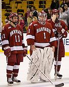 Jon Pelle (Harvard 11), John Riley (Harvard 1), Brian McCafferty (Harvard 2) - The Boston College Eagles defeated the Harvard University Crimson 6-5 in overtime on Monday, February 11, 2008, to win the 2008 Beanpot at the TD Banknorth Garden in Boston, Massachusetts.