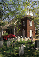 AJ3427, Wilmington, Delaware, Episcopal church, Holy Trinity (Old Swedes) Episcopal Church and cemetery in the spring in Wilmington in the state of Delaware. The oldest Protestant church in North America.