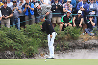 Hideki Matsuyama (International) on the 4th green during the Second Round - Foursomes of the Presidents Cup 2019, Royal Melbourne Golf Club, Melbourne, Victoria, Australia. 13/12/2019.<br /> Picture Thos Caffrey / Golffile.ie<br /> <br /> All photo usage must carry mandatory copyright credit (© Golffile | Thos Caffrey)