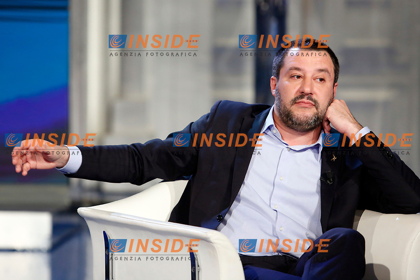 Matteo Salvini<br /> Rome January 10th 2019. The Italian Minister of Internal Affairs appears as a guest on the tv show Porta a Porta<br /> Foto Samantha Zucchi Insidefoto