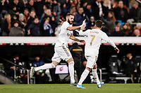 23rd November 2019; Estadio Santiago Bernabeu, Madrid, Spain; La Liga Football, Real Madrid versus Real Sociedad; Karim Benzema (Real Madrid)  celebrates his goal which made it 1-1 - Editorial Use