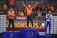 SPEEDSKATING: INZELL: Max Aicher Arena, 09-02-2019, ISU World Single Distances Speed Skating Championships, Podium 10.000m Men, Patrick Roest (NED), Jorrit Bergsma (NED), Danila Semerikov (RUS), ©photo Martin de Jong