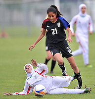 Monfalcone, Italy, April 26, 2016.<br /> Iran's #3 Rezapour vies with USA's #21 Mendoza during USA v Iran football match at Gradisca Tournament of Nations (women's tournament). Monfalcone's stadium.<br /> © ph Simone Ferraro / Isiphotos