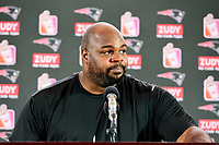 August 9, 2017: Vince Wilfork gets emotional speaking to the media at his retirement announcement  held at the Optum Field Lounge, in Gillette Stadium, in Foxborough, Mass. Wilfork signed a one day contract allowing him to retire from the NFL as a New England Patriot.