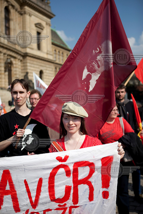 Members of the youth organisation of the Communist Party of the Czech Republic (KSCM) demonstrate against a planned US military radar base in the Czech Republic, on the day of President Barack Obama's visit to Prague.