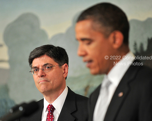 "United States President Barack Obama, right, announces he has named Jacob J. ""Jack"" Lew, left, to serve as Director of the Office of Management and Budget (OMB) in the Diplomatic Reception Room of the White House in Washington, D.C. on Tuesday, July 13, 2010..Credit: Ron Sachs - Pool via CNP"