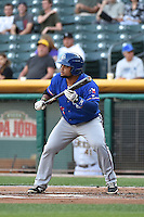 Tomas Telis (25) of the Round Rock Express at bat against the Salt Lake Bees in Pacific Coast League action at Smith's Ballpark on August 21, 2014 in Salt Lake City, Utah.  (Stephen Smith/Four Seam Images)