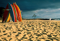 Colorful surfboards on Yokohama beach during a cloudy day