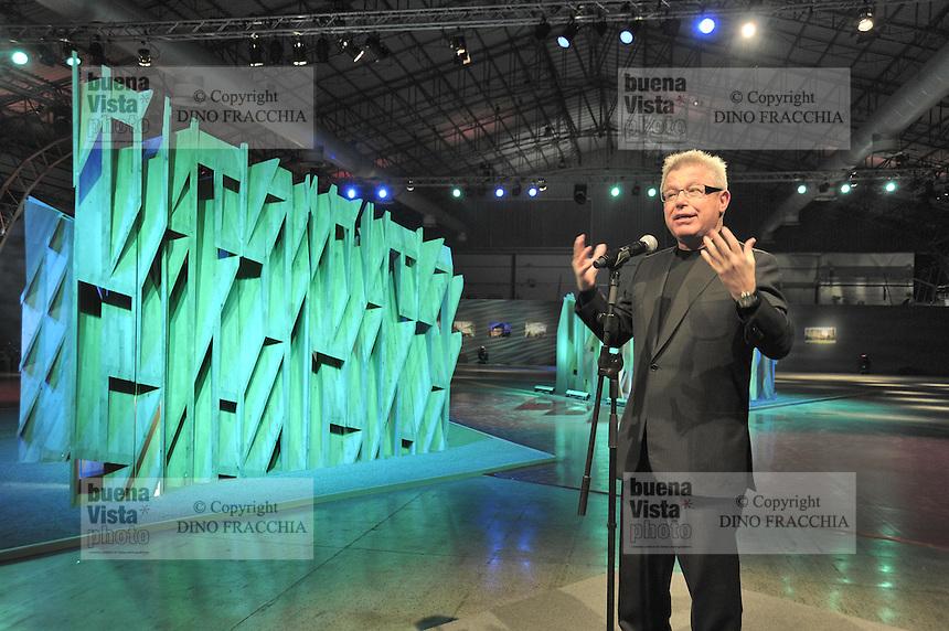 - Milan, the architect Daniel Libeskind visiting his art installation Futuropolis at the site of the new building compound CityLife<br /> <br /> - Milano, l'architetto Daniel Libeskind in visita alla sua installazione artistica Futuropolis presso il cantiere del nuovo complesso edilizio CityLife